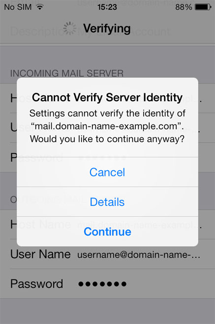 Cannot Verify Server Identity